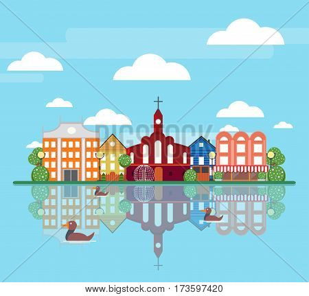 Flat spring city landscape concept with colorful buildings trees and ducks swimming in pond vector illustration