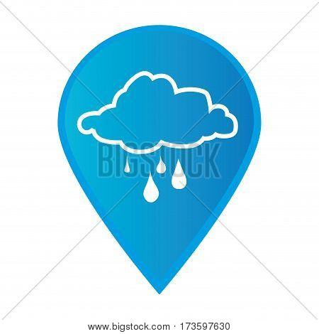 Mark icon pointer gps with silhouette rainy cloud icon vector illustration