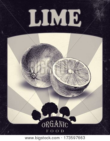 Flyer with limes drawn by hand with pencil. Retro design. Drawing with crayons. Fresh tasty fruits painted from nature. Tinted black and white
