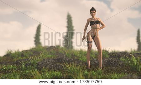 3d illustration of the warrior woman outdoor