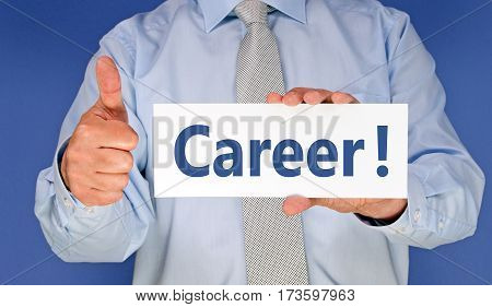 Career - Manager with sign and thumb up