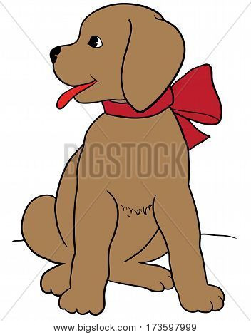 Happy puppy with a leash vector. Eps 10 vector illustration