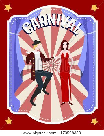 Carnival festive flat poster with male dancer and woman in evening dress on radial background vector illustration