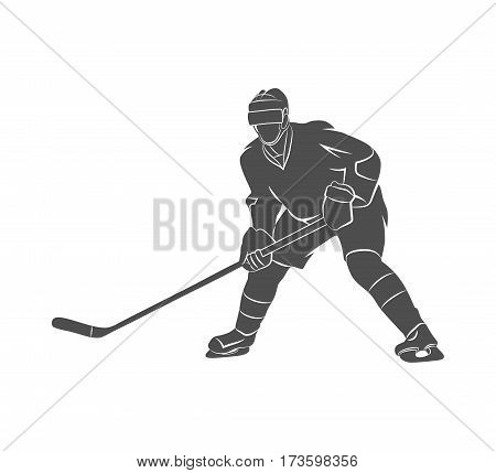 Silhouette hockey player on a white background. Vector illustration.
