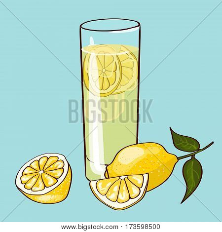 Flat fresh drink concept with glass of natural lemonade and organic ripe lemon isolated vector illustration