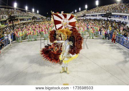 RIO DE JANEIRO Brazil - february 24 2016: Samba school parade Alegria da Zona Sul during the 2016 carnival in Rio de Janeiro at Sambodromo (Marques de Sapucai).