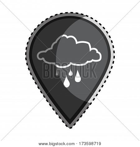sticker monochrome Mark icon pointer gps with silhouette rainy cloud icon vector illustration