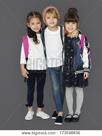 Happiness group of cute and adorable students are back to school