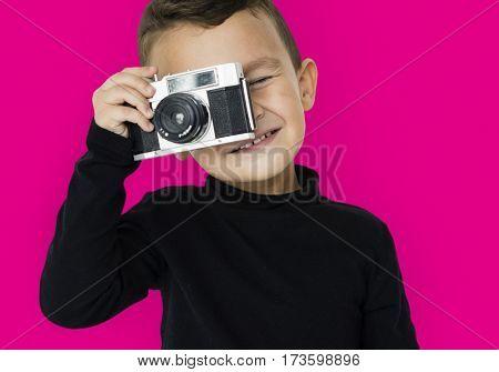 Little Boy Camera Taking Photo