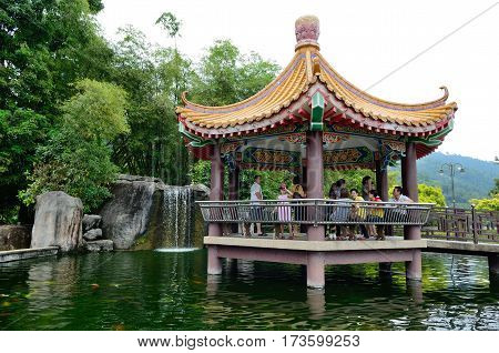 George Town/Malaysia - September 2012: Pond on territory of Kek Lok Si temple in George Town, Penang, Malaysia.