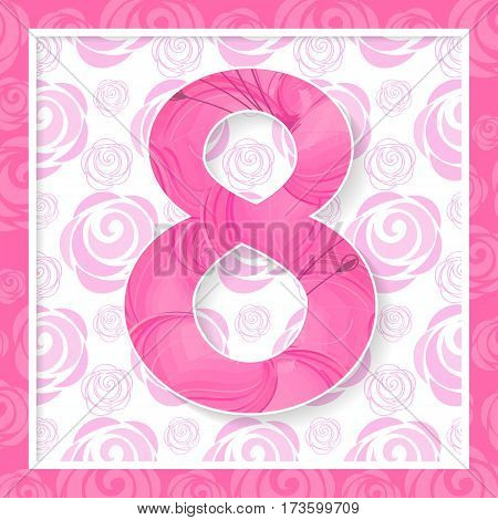 Abstract Pink Floral Greeting card International Happy Women s Day 8 March holiday background