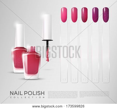 Realistic cosmetic nail polish set with colorful bright samples of female manicure isolated vector illustration