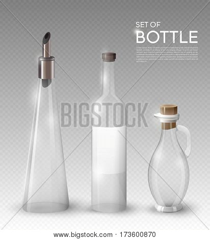 Realistic empty glass bottles collection for olive oil or different beverages on transparent background isolated vector illustration