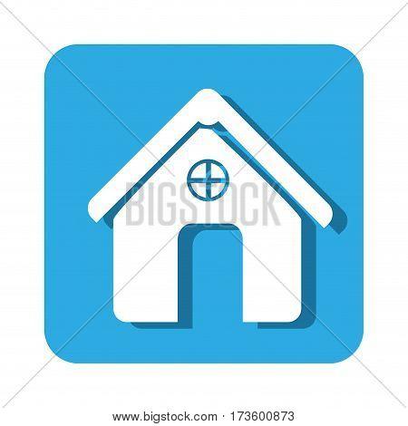 square button simple facade house icon design vector illustration