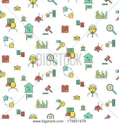 Real estate line icon seamless vector pattern. Business industry background.