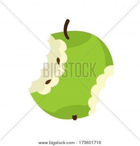 Green Apple Core Isolated. Fruit Trash. Rubbish On White Background. Garbage