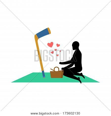 Lover Hockey. Guy And Hockey Stick On Picnic. Meal In Nature. Blanket  And Basket For Food On Lawn.