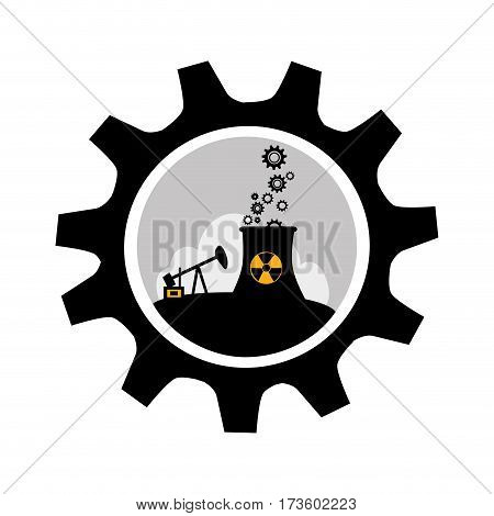 gear wheel border with background silhouette oil extraction machine with factory radioactive materials vector illustration