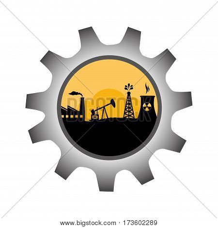 gear wheel icon border with background silhouette oil extraction machine with factory radioactive materials vector illustration
