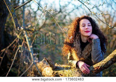 Beautiful Girl Leaned On A Tree, Autumn
