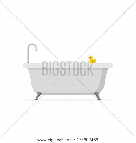 Bathtub and bath yellow rubber duck isolated on white background. Bath time in flat style vector illustration