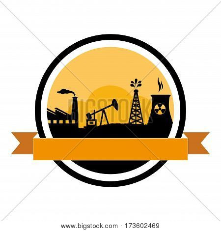 circular border with background silhouette oil extraction machine with factory radioactive materials with labels vector illustration