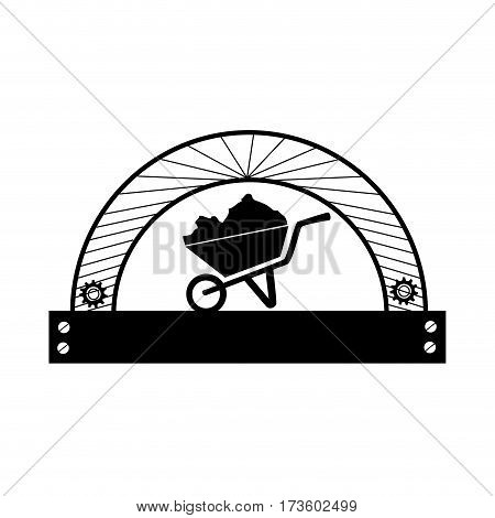 half circular frame with silhouette cartor truck for building vector illustration