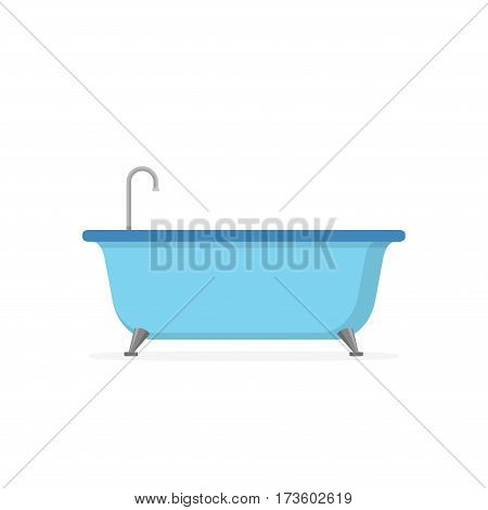 Blue Bathtub isolated on white background. Bath time in flat style vector illustration