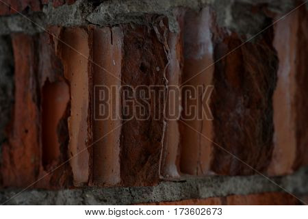 Close up Red bricks background, old cracked wall