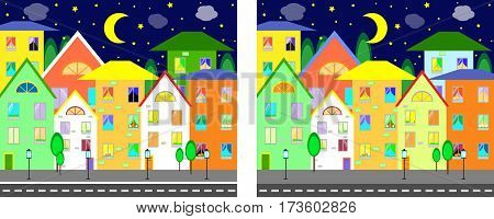 game find ten differences between the city vector illustration