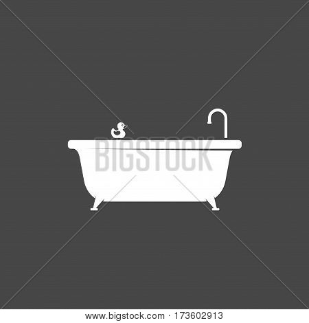 Bathtub icon and bath rubber duck icon isolated on dark background. Bath time vector illustration