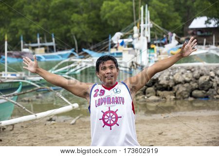 BUKANA, PHILIPPINES - FEB. 10: The life of the inhabitants of the Philippine fishing village FEB. 10, 2016 in Bucana Philippines.
