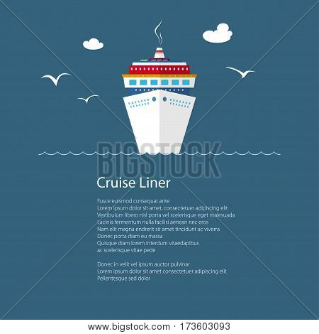 Cruise Ship at Sea and Text, Front View of the Liner, Travel Concept, Poster Brochure Flyer Design, Vector Illustration