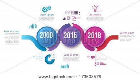 Process chart with 3 steps timeline for business data visualization. Bright colors circle and infographics with icons. Vector template for presentation, prints and web