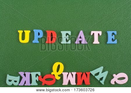 word on green background composed from colorful abc alphabet block wooden letters copy space for ad text. Learning english concept