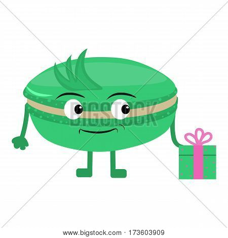 Cute and funny cupcake. Macaron gives a gift on birthday . Cartoon. Vector illustration
