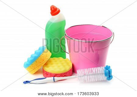 Bucket sponges and chemical products for cleaning isolated on white background