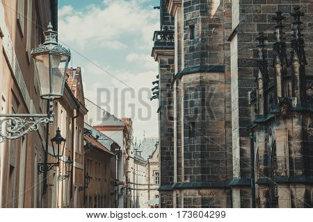 Street in the medieval style in Prague, Czech Republic