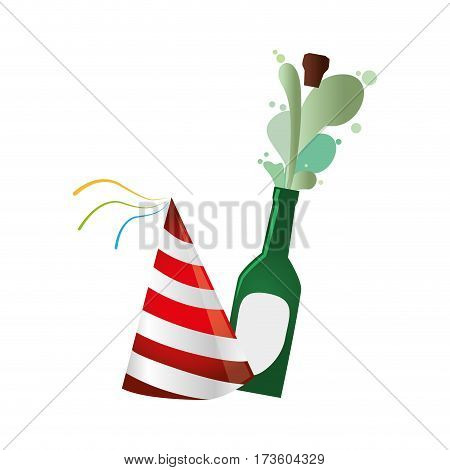 champagne bottle with cork expelled and party hat vector illustration