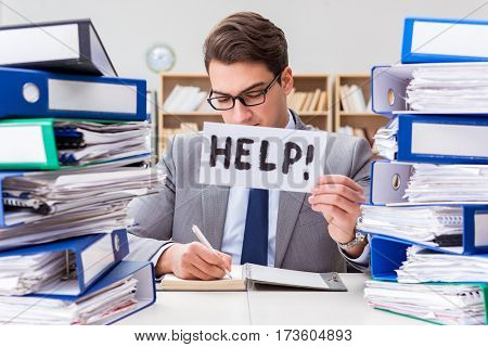 Busy businessman asking for help with work