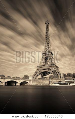 Eiffel Towerand River Seine in Paris, France.