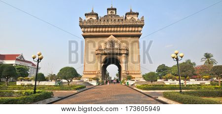 VIENTIANE LAOS 03 29 13: Patuxai literally meaning Victory Gate or Gate of Triumph, formerly the Anousavary or Anosavari Monument, known by the French as (Monument Aux Morts)