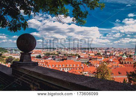 view of Prague city from hill , Czech Republic