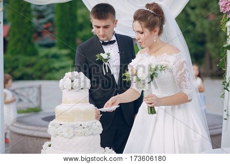 the bride and groom cut the wedding cake white