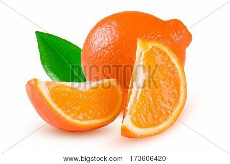 orange tangerine or Mineola with leaf isolated on white background.