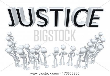 Justice Group Of The Original 3D Characters Illustration Around A Word