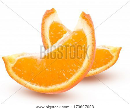 Two slices of orange tangerine with leaves isolated on white background.