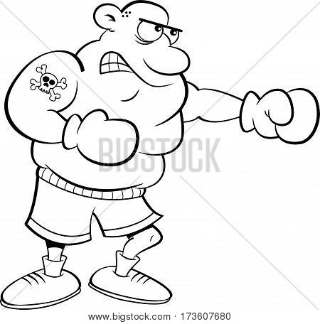 Black and white illustration of a boxer punching.