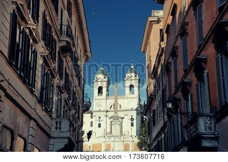 Street view near Spanish Steps in Rome, Italy.