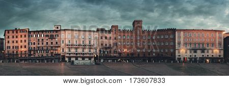 Old buildings in Piazza del Campo panorama view in Siena, Italy.